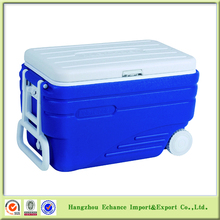 47L Portable plastic trolley cooler box with wheel and handle