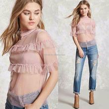 Ladies Ruffle Tops Sheer High Neck Ruffle Top for Girls High Neck Blouses for Women Summer Clothing