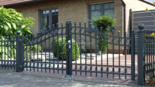 decorative wrough iron double swing entrance gate/ hot galvanized wrought iron gate