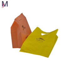 yellow and orange recycle die cut handle bag biogradable plastic shopping bag with side gusset