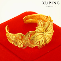 xuping gold jewellery dubai brass luxury flower bridal engagement wedding bangle India gold jewelry for women