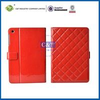 C&T Distinctive protective red grid for ipad mini retro book pu leather case