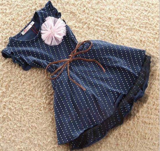Fashion Kids Frocks Clothes Blue Color Sleeveless Children Dress children frocks designs 2016