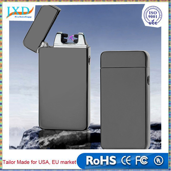 USB Electric Dual Arc Metal Flameless Torch Rechargeable Windproof Lighter for outdoor camping No Gas or Fuel is Required