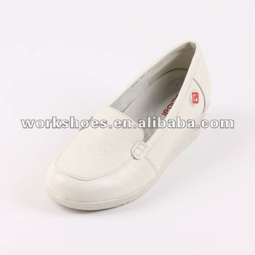 water proof slip on soft genuine leather nursing shoes with wedge heels