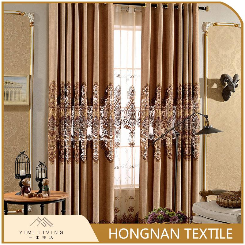 Best selling professional european style nice embroidered curtain