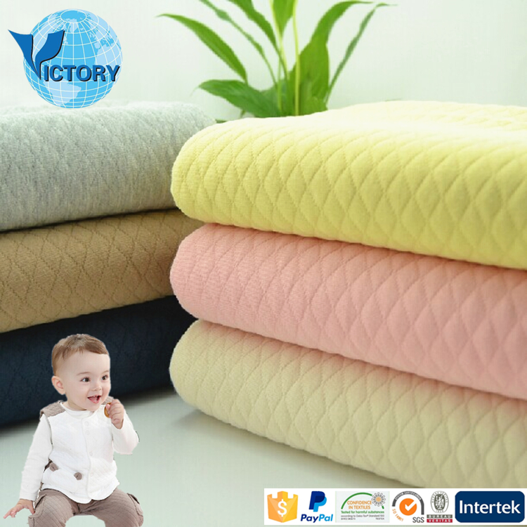 Polyester Cotton Air Layer Double Faced Quilted Fabric Auto Stripe Blister Fabric