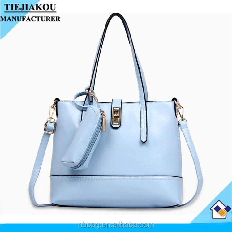 2015 china new product leather korean tote bag candy color bag women