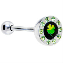 Green Gem Paved Half Dome Clover Logo Barbell Tongue Ring