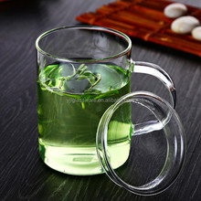 hot selling wholesale price 400ml thin glass tea cup with cover