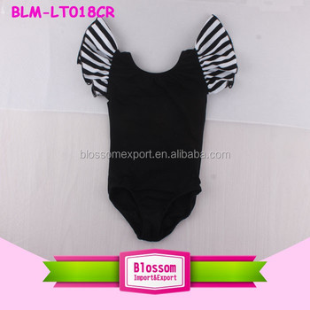 USA Apparel baby frock cheap girl/toddler cotton bodysuit leotard wholesale flutter sleeve child ballet training dance leotard