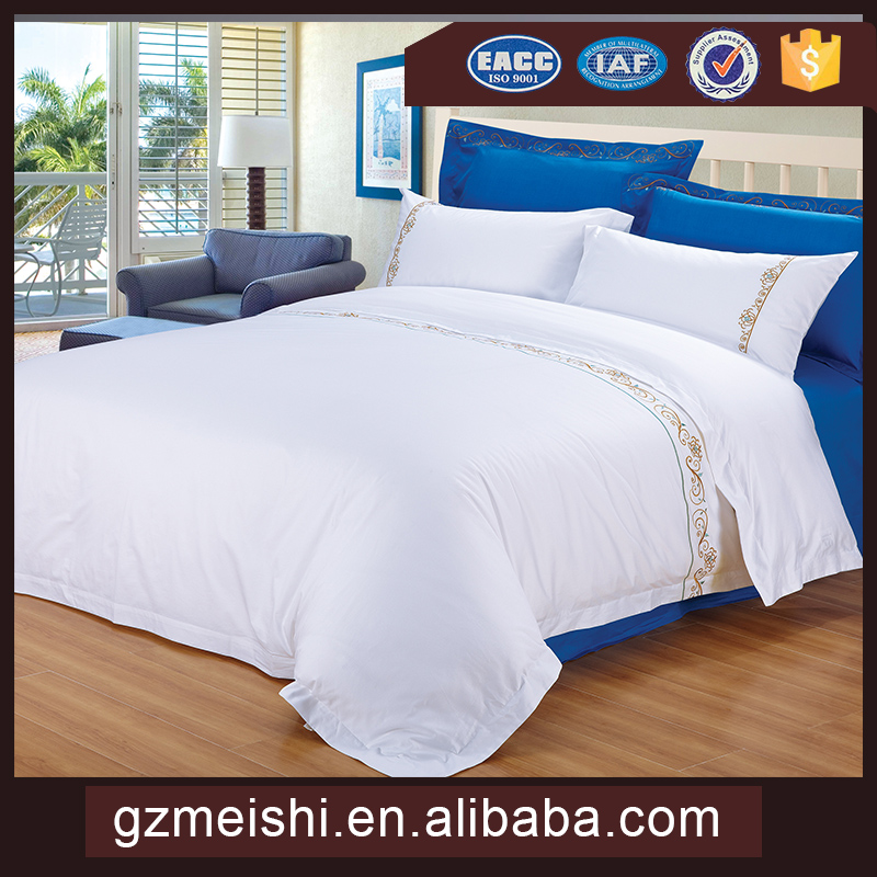 5 star 100% cotton 300T embroidery hotel bed sheet bedding sets
