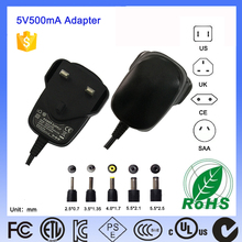 Plug in LED display adapter 5V 500mA Approved by UL CE MEET DOE VI