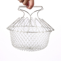 Stainless Steel Colander Mesh Foldable Steam Rinse Strain Fry Chef Magic Mesh Basket Strainer Net Kitchen Cooking Tool