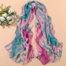Vintage flowers Printed Scarves Shawl Women Chiffon Scarves Sunscreen Silk Scarves Long Pashmina Wraps