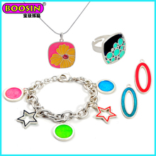 Custom Matte Silver Plated Enamel Ring Jewelry, Fashion Jewelry Set