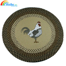 Print Natural Jute And Cotton Yarn Braided Round Area Rug