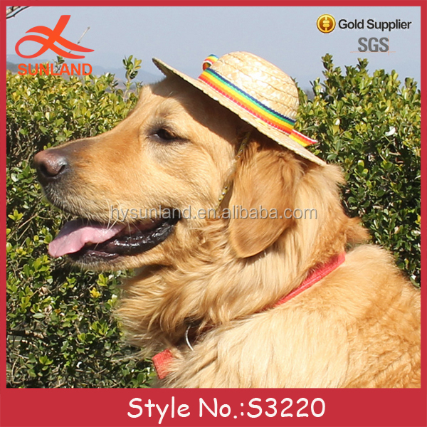 S3220 hot sale 2017 summer pet accessories straw hats funny dog hats for wholesale