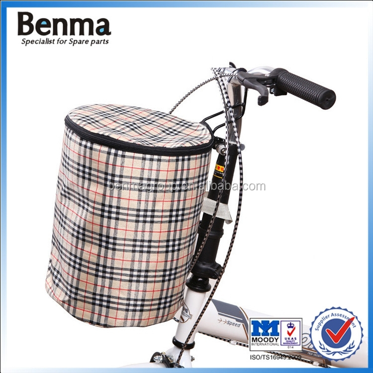 waterproof canvas bicycle basket , enfold bike front bag ,basket with cap