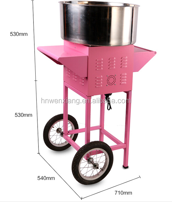 mini popular cotton flower candy floss machine with hand cart