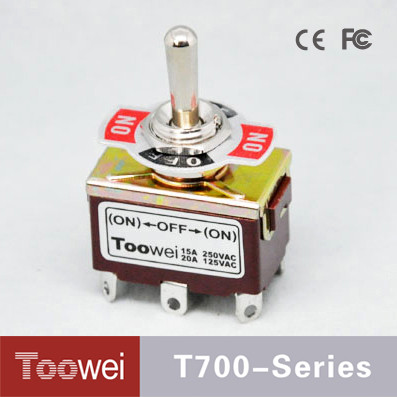 T700 Series DPDT 12mm Diameter (ON)-OFF-(ON) 6 Pins Miniature Toggle Switch