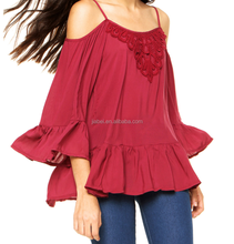 New Fashion Design Off Shoulder Long Flare Sleeve Blouse