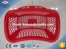 Single handle foldable supermarket shopping basket collapsible plastic round basket