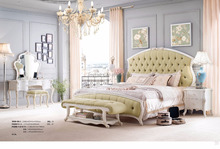 Wooden hand carved European style Fancy Classical canopy bedroom furniture set,king bed, wedding furniture