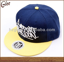 Navy hiphop cap snapback hat-Navy/yellow