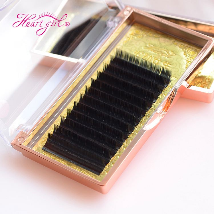 Custom Curl Length Thickness Black Ellipse Flat Individual Eyelash Extensions Matte