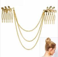 Fashion hair Jewelry gold color hairbrush , leaf chains hair accessory for women