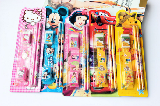 2016 eco-friendly custom children cartoon stationery set for promotion in blister pack