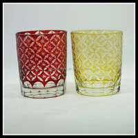 250ML crystal hand cut stock embossed ,etched,engraved overlay glass tumbler/water glass/glass drinking tumbler