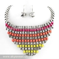 2013 New Design Spring and Summer Square Beaded Necklace and Earring Set Jewelry Products (SWTN129)