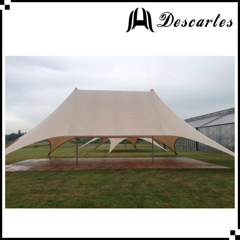 Ivory 19m double peak star shade tents/100 person marquee tents for sale