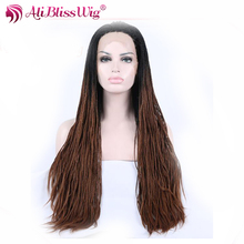 24 Inch Straight Ombre Dark Root Mixed Brown Jumbo Braided Synthetic Hair Heat Safe Full Lace Wigs for African American Women