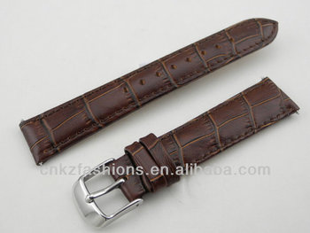 Brown Genuine Calf Leather Crocodile Grain 20mm leather watch straps wholesale