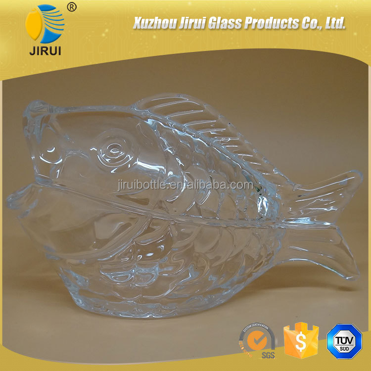 High white glass material little fish shape candy glass jar