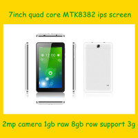 USA 7 inch 3G phone tablet pc mtk8382 quad core IPS 1.3ghz 1+8G 0.3+2.0 camera with GPS/bluetooth/FM-black