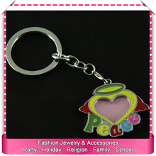 Cheap heart shaped photo keychains, low price photo frame key chains