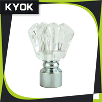 KYOK popular style crystal hardware factory curtain rod, curtain finial set with eyelets top for window decorational
