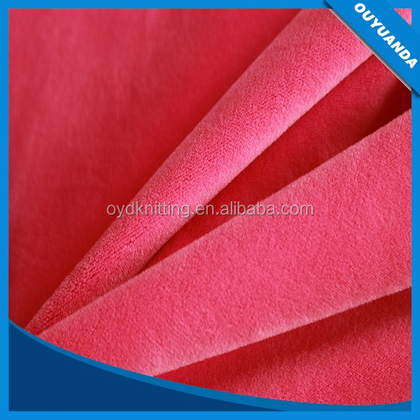 Polyester Pink Color PFD Solid Super Soft Spandex Velboa/Velour for Lady Garment/Baby Blanket/Home Textile