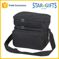 Black Messenger Insulated Picnic Cooler Bag Foldable With Side Mesh Pockets