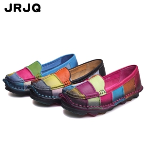 Custom classic women flat loafer shoe genuine leather ladies casual shoes