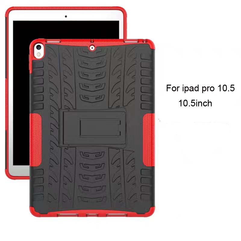 New arrival high quality fashion antishock kickstand wheel design PC and TPU 2in1 back cover tablet case for <strong>ipad</strong> pro 10.5inch