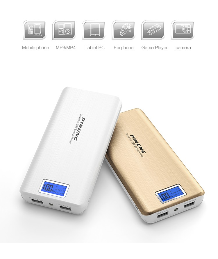 Pineng New products high capacity 10000mah Power bank with duble usb port