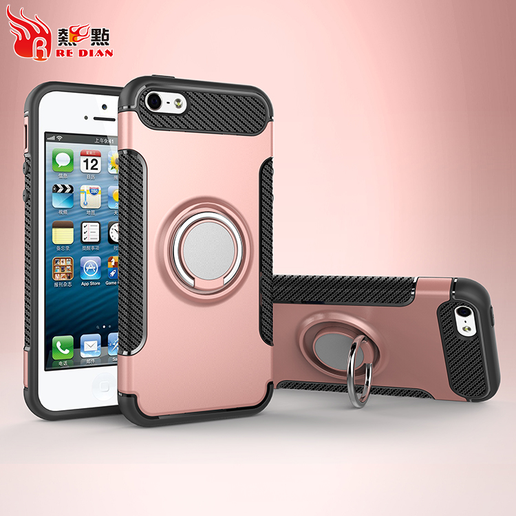 Carbon fibre phone case for iphone 5 back cover,pc phone case with kickstand,tough protective phone case