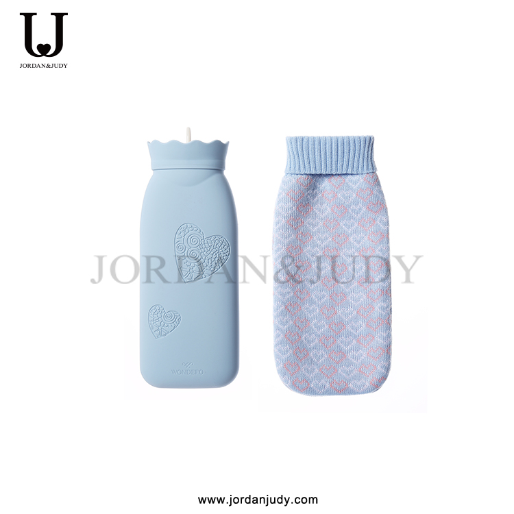 Silicone material hot water bag with knitting cover
