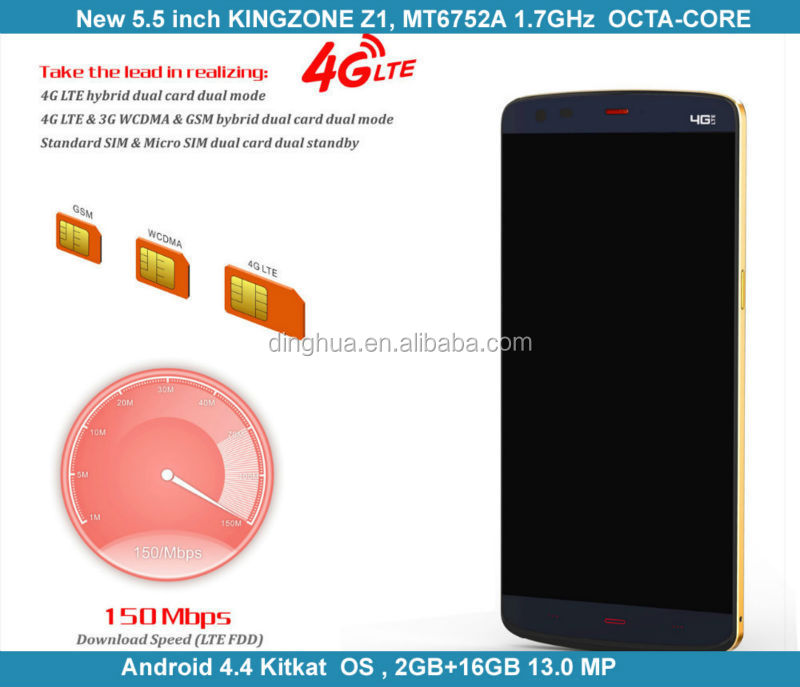 Made in China 4G Kingzone Cell Phone Z1 With Android 4.4 Octa Core MTK6752 13.0MP 5.5 inch China Phone