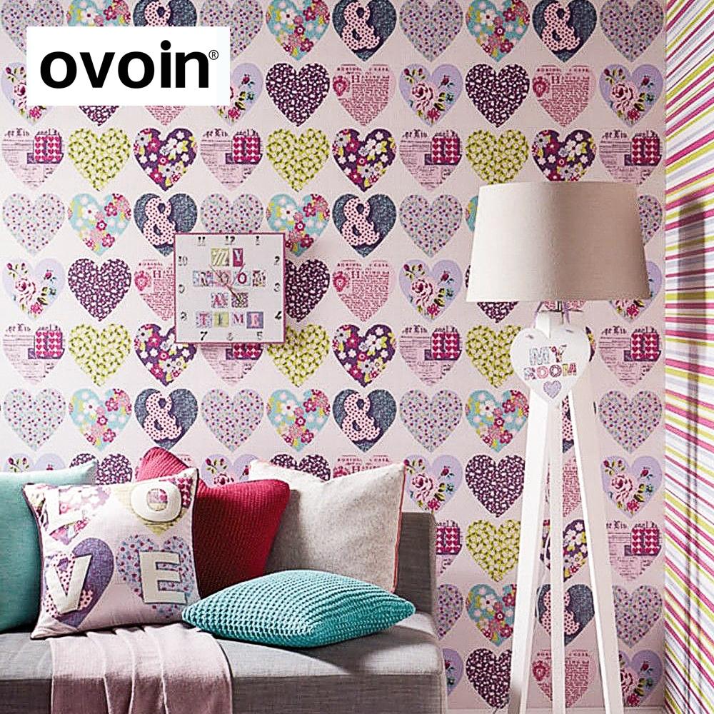 amor corazones de color rosa nios chicas rollo de papel dormitorio papel pintado habitacin de los